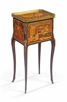 A FRENCH ORMOLU-MOUNTED MAHOGANY, CITRONNIER, PLANE AND MARQUETRY TABLE DE NUIT LATE 19TH CENTURY