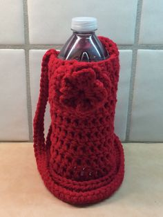 Crochet Water Bottle Cozy with Flower Red by KathysYarnCreations