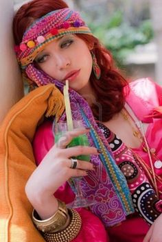Image detail for -Woman In Colorful Clothes Drinking Juice Royalty Free Stock Photo ...