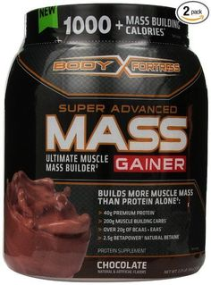 Body Fortress New Super Advanced Mass Gainer, Chocolate, Protein Supple, 2 Pack #BodyFortress