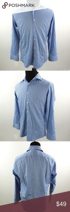 d58fd5ab5 Hugo Boss Blue Check Dress Shirt Hugo Boss Blue Check Gingham Regular Fit  Dress Shirt 15