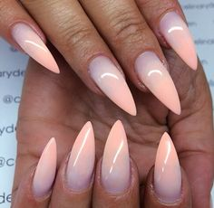 Nude ombre stiletto nails