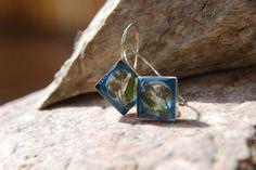 Sterling silver dangle earrings in blue dried by BalanceAtelier