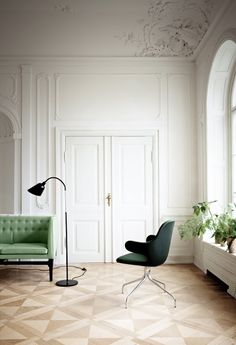 green, mint, emerald, white walls, crown molding, triangle flooring, interiors, living