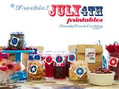 Freebie July 4th Invitations and Gift Tag Printables | FamilyFreshCooking.com