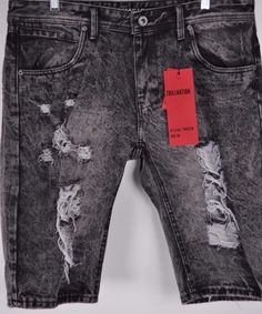 NEW Mens Trillnation Shorts Destroyed Distressed Faded Acid Wash Size 32 TNS27A #Trillnation #Denim