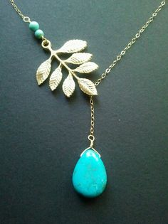 Turquoise Multi Leaves with Turquoise Gold Lariat by LaLaCrystal