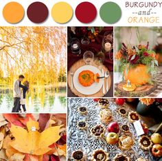 orange and burgundy fall wedding color palettes 2014
