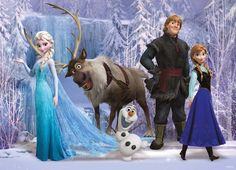 A beautiful piece of all the characters from frozen wall art mural. This would look fantastic in a children's bedroom and make a perfect wall mural for people in love with this kind of art. High quali