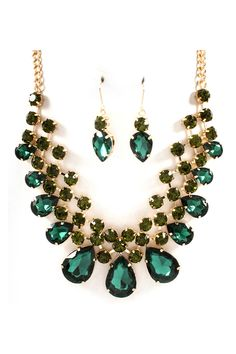 Raileen Necklace Set in Emerald Crystal//