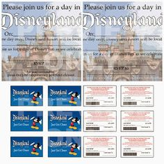 "Free printable Disneyland themed party invites and ""Park Tickets"" to send to guests with the invite. How cool! LoveOurDisney.com"