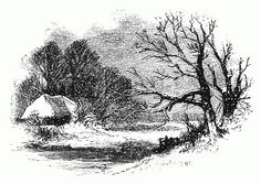 Vintage black and white winter scene drawing.