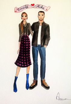 CustomCouple Illustration Fashion by annafuiillustrations on Etsy