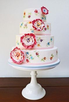 Hand Painted Vintage Wedding Cake with Flowers