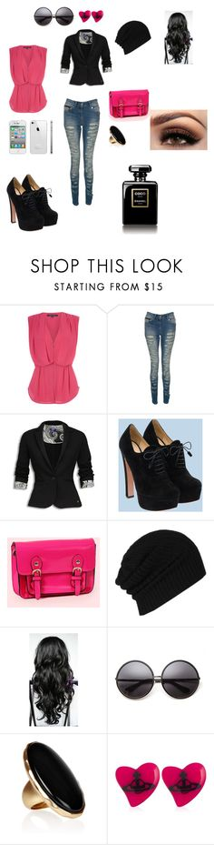 """Senza titolo #16"" by liillaaaaaaaa ❤ liked on Polyvore featuring French Connection, Crafted, Prada, AllSaints, House of Harlow 1960, Kenneth Jay Lane and Vivienne Westwood"
