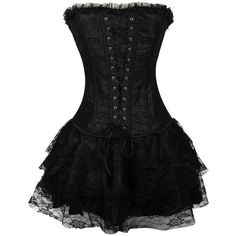 Dora's Secret Women Lace up Corset Bustier Dress Set Gothic Strapless... (6.205 HUF) ❤ liked on Polyvore featuring dresses, lace up corset, corset bustier, bustier corset, strapless cocktail dresses and goth corset