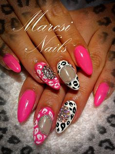 Pink/white leopard nail with diamonds...