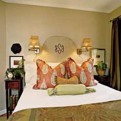 Traditional Monogram Bedroom | Monograms are a Southern staple, and monogrammed items will add a classic appeal to your bedroom. | SouthernLiving.com