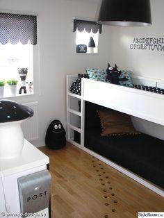 barnrum,loftsäng,vitt,svart,barbapappa