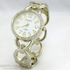 New Studio Time Ladies Watch Gold Tone Circle Bangle Bracelet Band Crystals SuzePlace.com
