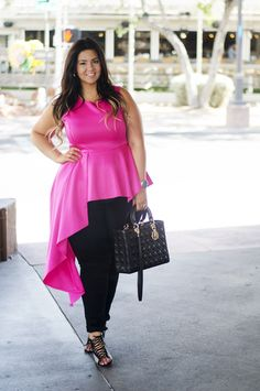 Crystal Coons wears a bright pink cascade peplum top with lace up heels Plus Size Peplum, Curvy Plus Size, Plus Size Model, Curvy Fashion, Love Fashion, Plus Size Fashion, Girl Fashion, Fashion Ideas, Curvy Outfits