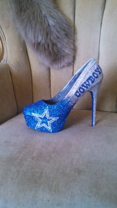 Glittery Heels & The Dallas Cowboys 💕💕💕 Dallas Cowboys Emblem, Dallas Cowboys Heels, Cowboys Football, Short Heels, High Heels, Nfl Shoes, Shoe Makeover, Cowgirl Baby, Football Outfits