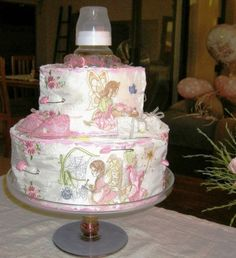 Diaper cake with  fairy icing for baby shower