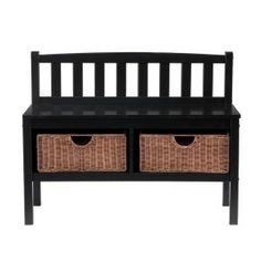 2-basket Storage Bench In Black
