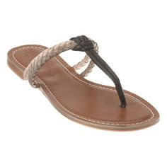 """Dual braided thong 1/4"""" sandal.  Leather upper"""