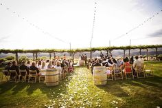 winery wedding ceremony at Cave B Winery