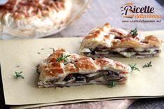 Torta rustica ai funghi, mozzarella e speck