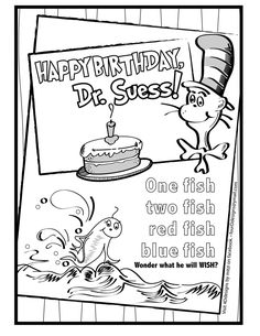 Happy Birthday Dr Seuss Color Sheet
