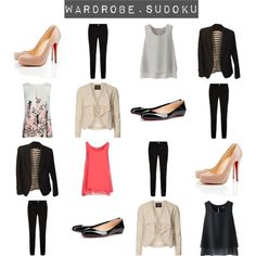 Wardrobe Sudoku by charcoalram on Polyvore featuring Hope Collection, Uniqlo, Dorothy Perkins, Banana Republic, BOSS Hugo Boss and Christian Louboutin