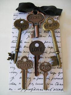 VINTAGE INSPIRED KEYSKeysRomantic6 Engraved Word by shabbymcfabby, $17.50