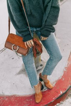 casual street style look + cozy sweater + denim with raw edge + block heel + chloe handbag + fall outfit inspiration