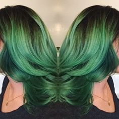 Why go hiking in the forest when you can stare at @tany_jane's Extreme Green hair instead?!  #overtone #extremegreen #foresthair