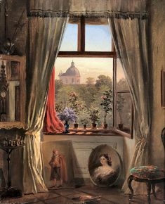 ebert, anton - Anton Ebert's Studio Window in Vienna Fabian Perez, Berthe Morisot, Amber Tree, Academic Art, Impressionist Artists, Pierre Auguste Renoir, Edgar Degas, Pre Raphaelite, Window Art