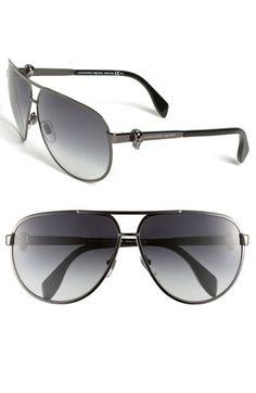 Alexander McQueen Skull Temple Metal Aviator Sunglasses available at #Nordstrom