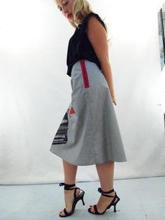 Zipper Detail on Gray A-Line Skirt by Angie's Sweatshop angiessweatshop.com