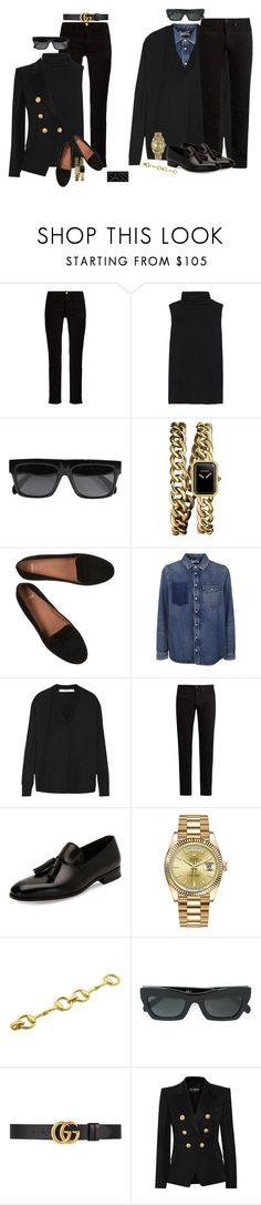 """""""Bonnie & Clyde"""" by saskiasnow ❤ liked on Polyvore featuring Frame, The Row, CÉLINE, Chanel, Valentino, Givenchy, KURO, Salvatore Ferragamo, Rolex and Gucci"""