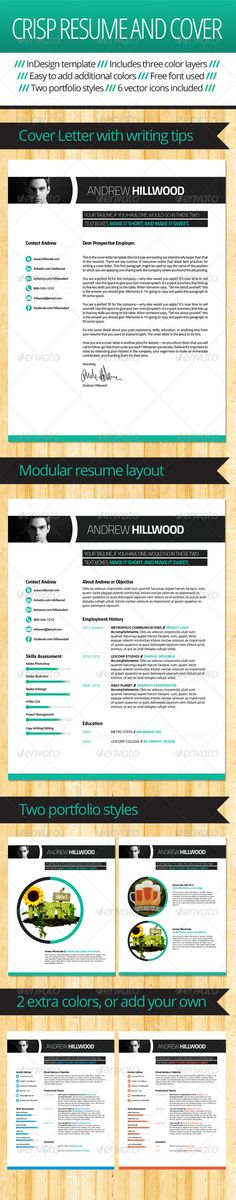 Crisp, Clean Resume and Cover Template Template, Cover letter - resume portfolio template