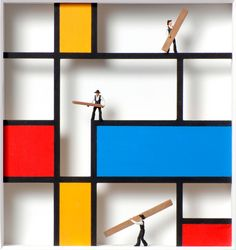 """Homage to Piet Mondrian"" by Volker Kühn, 2012 Piet Mondrian, Mondrian Kunst, Bauhaus, Volker Kühn, Kindergarten Design, Photography Collage, Shared Rooms, Art Deco Design, Art Object"