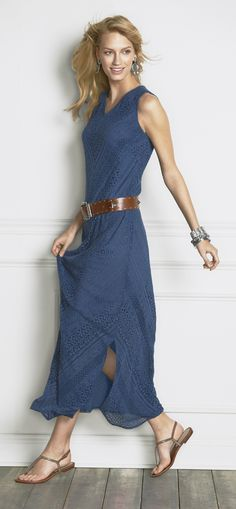 The Indigo Maxi: Our favorite color in a fabulous dress. (Paired with the Willamena Belt.)