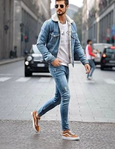 137 denim jacket mens outfits – page 6 Winter Outfits Men, Stylish Mens Outfits, Casual Outfits, Men Casual, Fashion Casual, Casual Winter, Winter Clothes, Winter Style, Summer Outfits