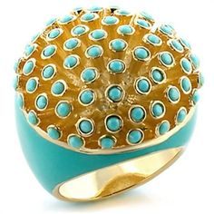 Aqua Blue Gold Cocktail Ring Enamel Crystals Deco Size 10 USA Seller #Cocktail