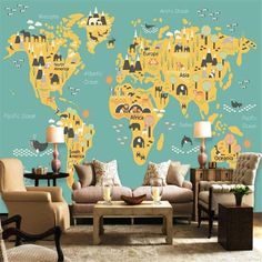 Cartoon Children's World Map Wallpaper - 178W x 111H inches / Peel & Stick Paper