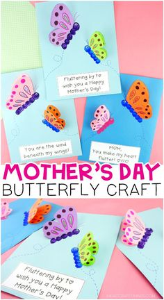 Grab our free butterfly craft template to make this adorable Mother's Day butterfly craft. It's super easy for preschoolers and kids of all ages to make. Fun and simple DIY Mother's Day gift for kids to make. - Mother's Day Butterfly Craft for Kids Mothers Day Crafts Preschool, Easy Mothers Day Crafts For Toddlers, Easy Mother's Day Crafts, Diy Gifts For Kids, Toddler Crafts, Diy For Kids, Daycare Crafts, Preschool Ideas, Grandmas Mothers Day Gifts