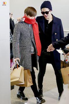 141225- EXO Suho (Kim Joonmyun) and Oh Sehun; Osaka Airport to Gimpo Airport #exok #fashion #style
