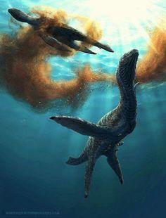 Plesiosaurs feeding on Krill.