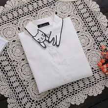 Stile cartoon gatto colletto a maniche lunghe camicetta shirt donna plus size 3xl bianco camicie casual tasche in cotone camicie blusas NN131(China (Mainland))